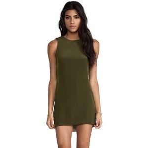 Naven Olive Silk Twiggy Mini Dress